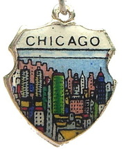 CHICAGO, ILLINOIS SKYLINE - Silver Travel Shield Charm - $24.95
