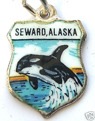 SEWARD ALASKA WHALE Silver Enamel Travel Shield Charm