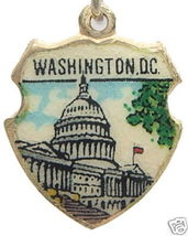 WASHINGTON DC US CAPITOL 3 Silver Travel Shield Charm - $24.95