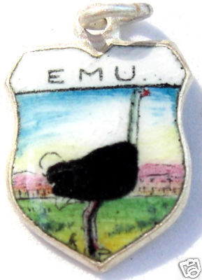 EMU ANIMAL- Vintage Enamel Travel Shield Bracelet Charm