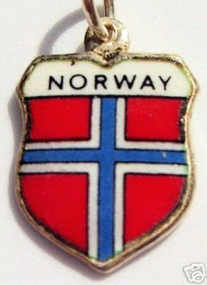 NORWAY - Vintage Silver Enamel Travel Shield Charm WOW!