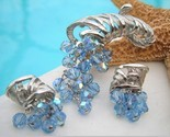 Vintage cornucopia brooch earring set blue silver thumb155 crop
