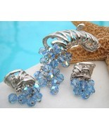 Vintage Cornucopia Brooch Earrings Demi Parure Blue Crystal  - $74.95
