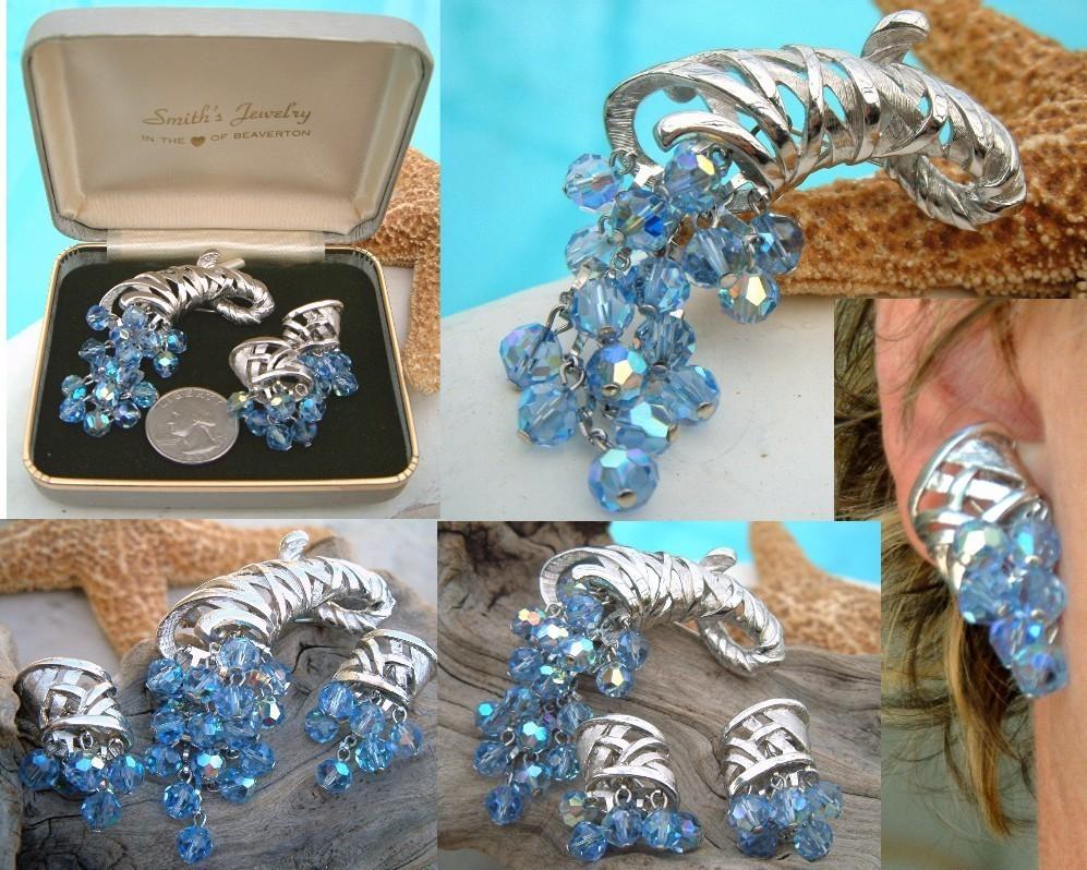 Vintage Cornucopia Brooch Earrings Demi Parure Blue Crystal