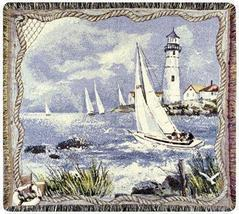 50x60 Lighthouse Sailboat Sea Nautical Tapestry Throw Afghan Blanket - $42.50