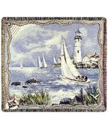 50x60 Lighthouse Sailboat Sea Nautical Tapestry... - $42.50