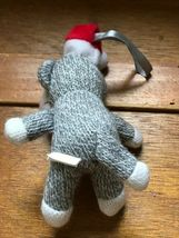 Small University of Wisconsin Gray & White Stuffed Sock Monkey w Santa Hat Chris image 5