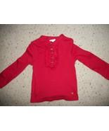 Girl's Healthtex Red Ruffle L/S Shirt Size 24 Months - £1.59 GBP