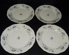 4 Johann Haviland Bavaria Germany Blue Garland Bread Plates White Silver Rim - $25.73