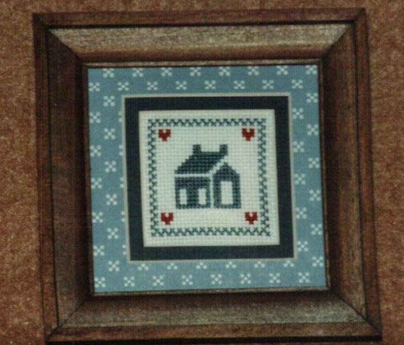 Mini House Ornamat cross stitch chart with double mat Dunfield Inc 4x4