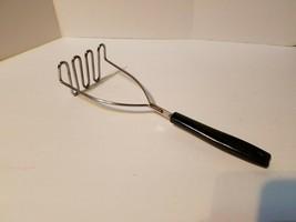 "Vintage EKCO #6 Potato Vegetable Masher Black Handle Utensil 10 1/4"" - $12.07"