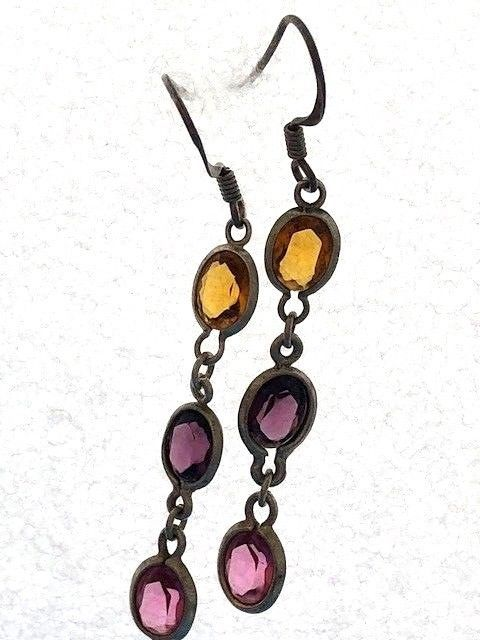 Primary image for VINTAGE STERLING SILVER MULTI GEMSTONE? DANGLE EARRINGS 925