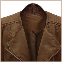 Retro Big Lapel Brown Faux Leather Oblique Zipper Motorcycle Jacket image 2