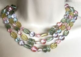 MULTI-Colored Pastel GLASS Beaded Triple Strand NECKLACE - 17 inches - V... - £57.87 GBP