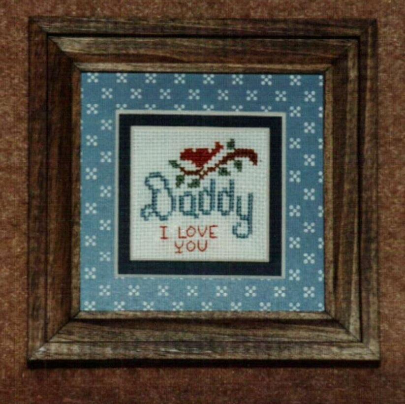 Mini Daddy Ornamat cross stitch chart with double mat Dunfield Inc 4x4