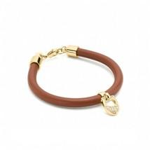 NWT COACH Pave Leather Signature C Logo Cute Bracelet Leather Saddle Gol... - $48.50