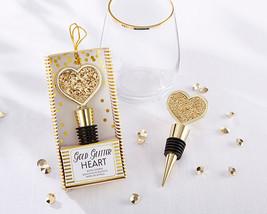 Gold Glitter Heart Bottle Stopper Bridal Wedding 50th Anniversary Wine B... - $106.16+