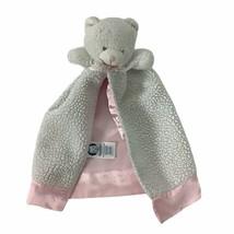 "Gerber White Sherpa Bear Plush Baby Lovey Pink Satin Security Blanket 11"" H - $23.36"