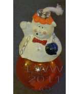 Halloween Happy Ghost Oil Lamp Candle Small Orange - $3.99