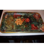 English Snack or Bar Tray in Floral Motif 7 X 11 inches - $18.99