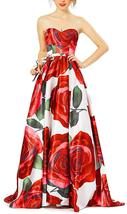 Womens Floral Print Prom Dresses Strapless Long Evening Party Gowns Form... - $115.99