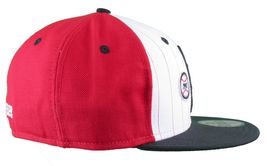 Dissizit! LA Hands 9212 New Era Fitted Cap Red/Wht Pinstripe Hat Baseball image 3