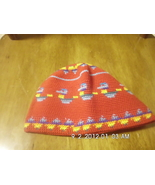 Childrens Crochet Kufi Hat Red W/ Design Handmade - $5.99