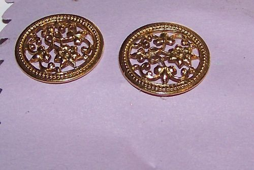 Primary image for Floral Earrings gold colored  metal pierced posts