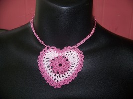 Valentine Heart Hand Crocheted Neclace Pendant Pink  - $22.50