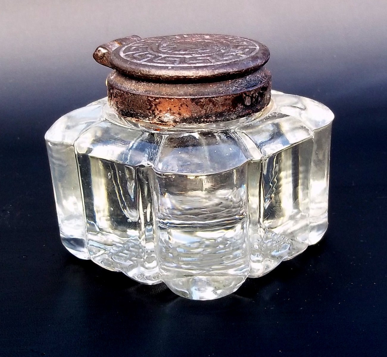 Antique Inkwell. Glass with Metal Top. - Other