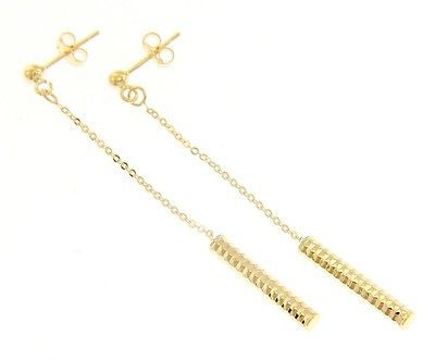18K YELLOW GOLD CHAIN WORKED TUBE PENDANT EARRINGS 60 MM, 2.4 IN. MADE IN ITALY
