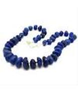 Dark Blue Stone Agate Necklace Handmade - $14.99