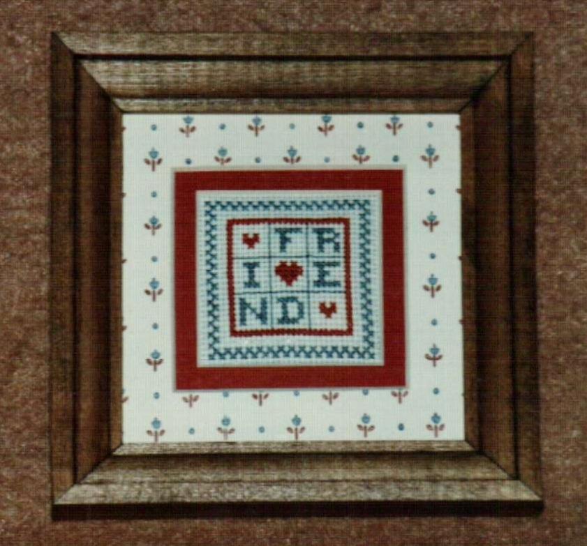 Mini Friend Ornamat cross stitch chart with double mat Dunfield Inc 4x4