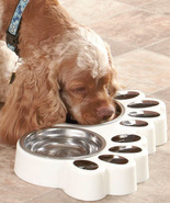 White Paw Print Food & Water Buffets Dog Or Cat - $19.95