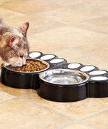 Black Paw Print Food & Water Buffets Dog Or Cat - $19.95