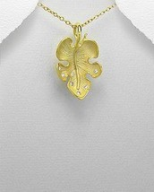 14K Sterling Silver Crystal Glass Leaf Pendant Necklace - £25.31 GBP