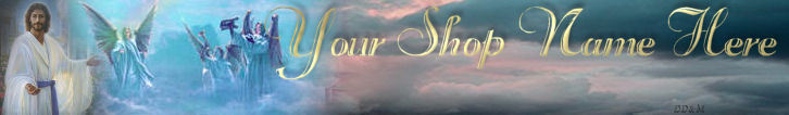 Jesus Heaven Angels Stairs Custom Designed Web Banner 122a