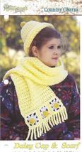 Daisy Cap & Scarf Crochet Pattern - $2.99