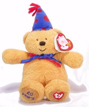 Ty Beanie 20 Years Laughter the Brown Bear Blue Hat - $5.00