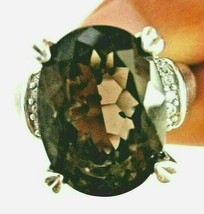 Judith Ripka Sterling silver Oval Smoky Quartz Ring DMQ Accents Size 9 G... - $159.95