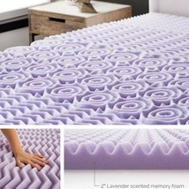 "Memory Foam Mattress Topper 2"" Inch Lavender King Size Soft Plush Mattre... - $83.90"