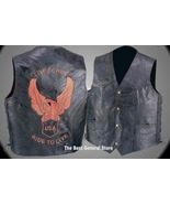 3X Mens Black Leather Motorcycle Biker Vest with Orange Eagle LIVE TO RIDE - $36.95