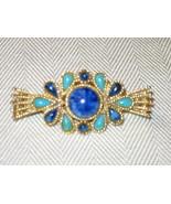 Capri gold pin with blue stones - $10.00