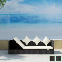 vidaXL Outdoor Sofa 3-Seat Poly Rattan Wicker Chaise Lounge Seat Black/B... - $184.99+