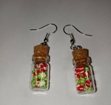 Peppermint Bottle Earrings Silver Wire Christmas Candy Bottle Charm - $7.00