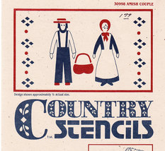 COUNTRY STENCIL #30998 AMISH COUPLE NEW PRECUT MYLAR - $2.50