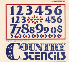 COUNTRY STENCIL #32698 NUMBERS NEW PRECUT MYLAR - $2.50
