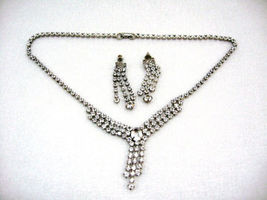 VINTAGE SPARKLE CRYSTAL RHINESTONE SILVER PLATED NECKLACE CHOKER EARRING... - $16.99