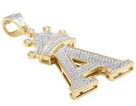 """14K Yellow Gold Plated 925 Silver Tilted Crown Initial """"A"""" Pendant Round Cut CZ - $146.99"""