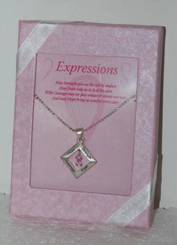 DM Merchandising BCA DIANK Strength Faith Courage Hope Diamond Shape Necklace